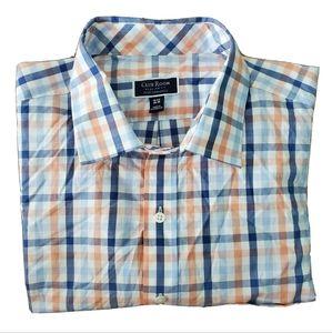NWT Club Room Blue Plaid Button Down Shirt